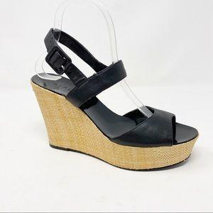 J.CREW Maryann Black Cork Wedge Platform Sandals in Size 8